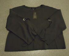 New Look Grey 3/4 slit tie sleeves cropped wide Jumper UK 12