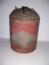 Vintage Galvanized 2 Gallon Fuel Gas Can with Spout & Original Old Red Paint