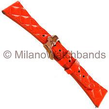 20mm Glam Rock High Quality Hand Made Patent Orange Matelasse Calf Watch Band