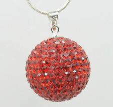 Top Huge 20 mm Disco Shamballa Crystal Ball Pendant Silver Chain Necklace 006