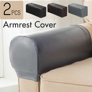 2PC PU Leather Furniture Sofa Armrest Covers Couch Chair Arm Protectors Stretchy