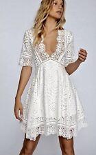 New Free People Nightcap white rust Babydoll Eyelet Lace Swing Dress size 2 S