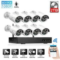2TB HDD 4/8CH WiFi IP CCTV System VGA HDMI Kit NVR Wireless IR-CUT 720P to 1080P