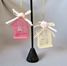 BIRDS ON SWINGS  FLORAL & RIBBON PINK AND CREAM CAGES COLLECTIBLE ORNAMENT-NICE