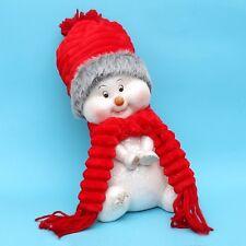 ceramica bambini nella neve seduto 32 cm pupazzo di con berretti stoffa DOLCE