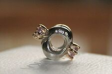 Genuine Pandora Two Tone 14 ct Gold Amethyst Interlocking Hoop Charm No 790371AM
