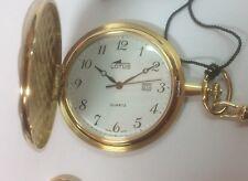 Lotus reloj de bolsillo en acero chapado con cadena y calendario 9017/5