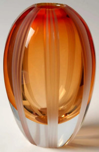 """Evolution By Waterford Crystal Red Amber Flower Vase 9"""" H"""