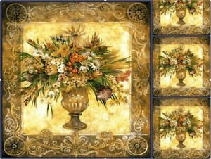 Tapestry Wall Hanging Pot of Flowers Golden Classic Wall Artwork