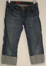 "AG ADRIANO GOLDSCHMIED sz 28R ""THE SHORTY"" CUFFED BLUE JEANS meas 28x20  #377-14"