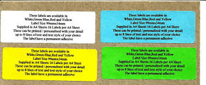 COLOURED labels YOUR TEXT Printed Sticky Address Labels Stickers 99x33mm