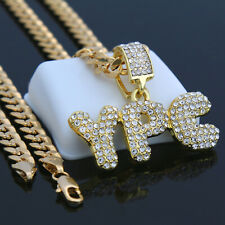 """24"""" Cuban Chain Hip-Hop Necklace Gold Plated Ypc Pendant Young People"""