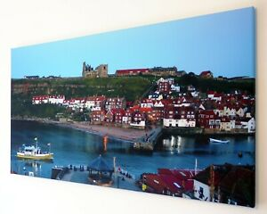 WHITBY COASTAL SCENE YELLOW BOAT CANVAS  WALL ART PICTURE  18 x 32 INCH