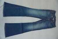 TRUE RELIGION Joey Big T Bootcut Flared Jeans Hose Schag 26/34 W26 L34 blau AD20