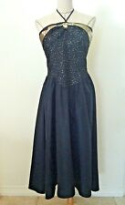 Vintage 80s women dress black gold lame metallic party cocktail size 8 10 12