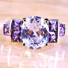 Size 10 Engagement Oval Cut Amethyst & White Topaz Gemstone Silver Ring Gifts