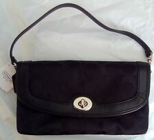 COACH Campbell Signature Sateen Fabric Black & Silver Large Wristlet F50184 NWT
