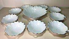 Leaf Shape Porcelain Trifle/Dessert Serving Bowl & 9 Dishes