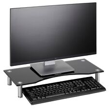 VonHaus Black Curved Glass Monitor Mount Computer Display Riser Small TV Stand