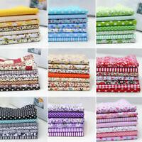 7Pcs Tessuto Cotone Panno Stoffe Patchwork Pre Cut Fabric Fiori Cloth 25 x 25cm