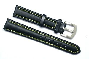 18mm Black Genuine Leather White, Black Yellow Stitched Watch Band Silver Buckle