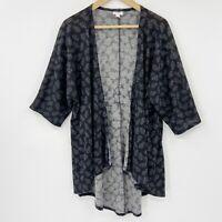Lularoe Lindsay Kimono Open Front Cardigan 3/4 Sleeve Black Pink Blue Leaves S