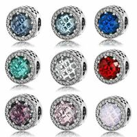 Charms Anhänger für Pandora Armband Echt Silber Zirkon 925 Kristall 9 Farben Neu