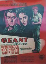 """""""GEANT (GIANT)"""" Affiche entoilée (James DEAN, Rock HUDSON, Elisabeth TAYLOR)"""