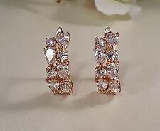 Rose Gold Cubic Zirconia Lever Back Pierced Earrings