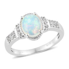 Ethiopian Welo Opal, White Topaz Platinum Over Sterling Silver Ring (Size 9.0)