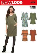New look sewing pattern misses's knit robe encolure longueur var 10-22 6298 vente