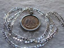 "Mexico Red Copper Eagle Coin Pendant on a 28"" Silver 3 & 2 Link Style Chain"