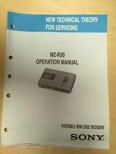 Sony Operation Manual ~ MZ-R30 Mini Disc Player ~Technical Theory/Service