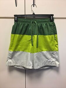 Nike Swim Shorts Trunks Nike Swoosh Men Sz S Lined Gray Forest Green Neon