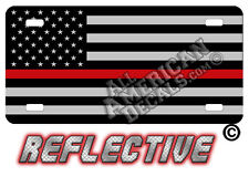 Thin Red Line Tactical flag Decal Auto Tag REFLECTIVE License Plate + 2 free FF
