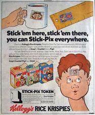 1984 KELLOGGS 'Rice Crispies' Print Advert (Free 'Stick-Pix') - Vintage Comic Ad