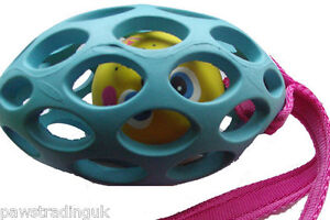Rubber Rugby Ball Dog Cage Toy - Tug/Bungee/Fleece Handle Design Your Own