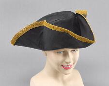 PIRATE CAPTAIN #TRICORN HAT BLACK WITH GOLD RIM FANCY DRESS