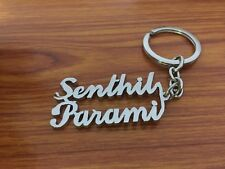 Personalized 2 Custom Names Keychain Key Ring Silver Color Handcarved Your Name
