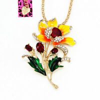 Betsey Johnson Jewelry Enamel Crystal Flower Pendant Chain Necklace/Brooch Pin