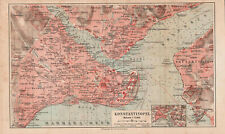 Antique map. TURKEY. OTOMAN EMPIRE. CITY MAP OF CONSTANTINOPLE. c 1909