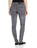 NWT Miss Me Dark Gray Flocked Leopard Print Signature Rise Skinny Jean 32 x 31 ½