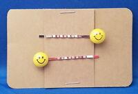 SMILEY FACE Handmade Bobby PIn Hair clips - Set of 2