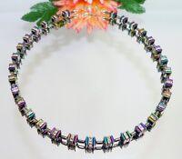Kette Halskette Perlen Pyramide Hämatit bunt multicolor Strass klar  065d