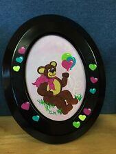 acrylic paintingBear w/Pink Bow teddy bear w/balloons & hearts for child's room