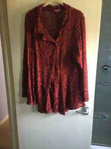 Jo Brown Red Lace Jacket Size 22