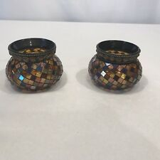 PartyLite Pair Of Global Fusion Mosaic Votive Tealight Candle Holder P8367