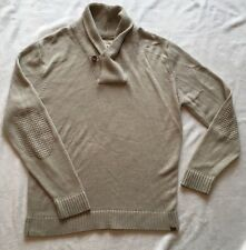 River Island Mens Size L Beige Button Neck Jumper Sweater Elbow Knit Cream