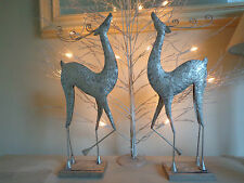CHRISTMAS REINDEER SILVER PAIR OF DECORATIONS PAINTED METAL £13.99 for 1 Lovely!