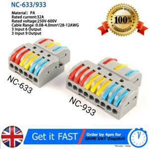 Quick Wire Connector 2/3 In 6/9 Out Wire Splitter Terminal Compact Wiring Blocks